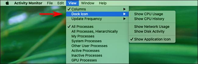 Menu d'affichage du moniteur d'activité Mac