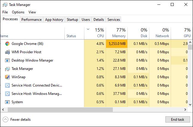 Gestionnaire des tâches de Windows 10 montrant les processus en cours d'exécution.
