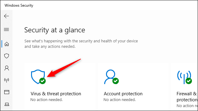 Ouverture des paramètres de protection contre les virus et les menaces dans la sécurité Windows.