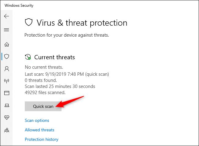 Recherche manuelle de virus et autres logiciels malveillants dans Windows Security.