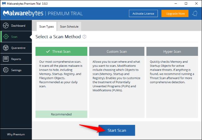 Recherche de logiciels malveillants avec Malwarebytes sur Windows.