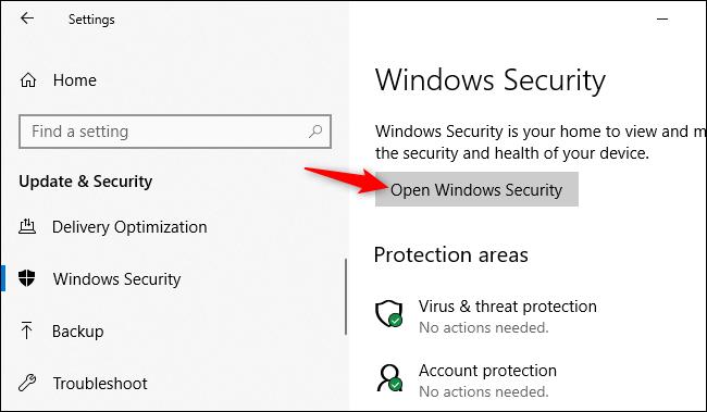 Ouverture de l'application de sécurité Windows à partir des paramètres de Windows 10.