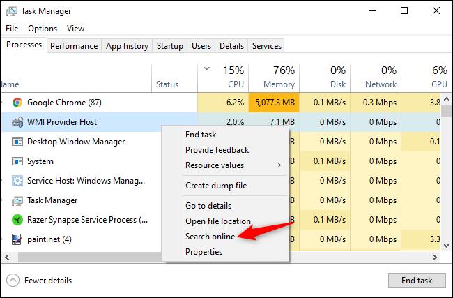 Recherche du nom d'un processus en ligne à partir du Gestionnaire des tâches Windows.