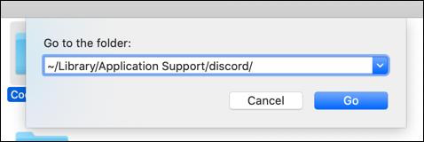 """""""~ / Bibliothèque / Application Support / discord /"""" dans le """"Aller au dossier"""" zone de texte."""