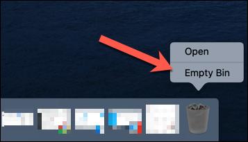"""Cliquez avec le bouton droit sur l'icône de la corbeille, puis cliquez sur """"Vider le bac."""""""