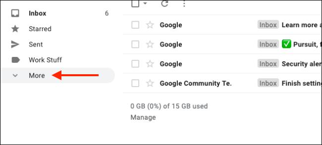 Cliquez sur Plus pour développer tous les libellés Gmail