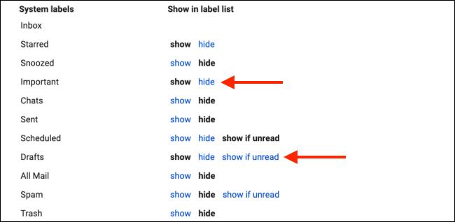 Masquer les étiquettes système pour nettoyer la barre latérale de Gmail