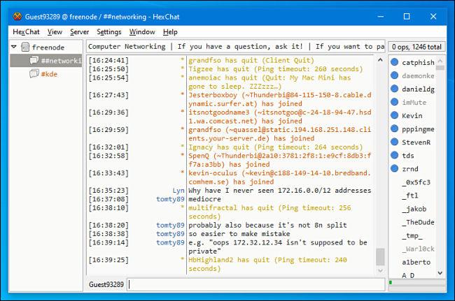 Un canal de discussion IRC dans HexChat pour Windows.