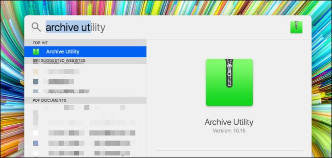 Rechercher l'utilitaire d'archivage dans la recherche Spotlight