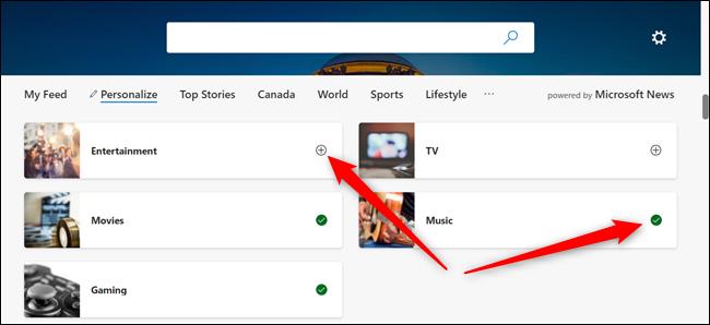 Cliquez sur le signe + pour ajouter un sujet et cliquez sur la coche verte pour supprimer le sujet de votre liste.