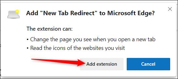 """Lisez les autorisations, puis cliquez sur """"Ajouter une extension"""" pour installer l'extension."""