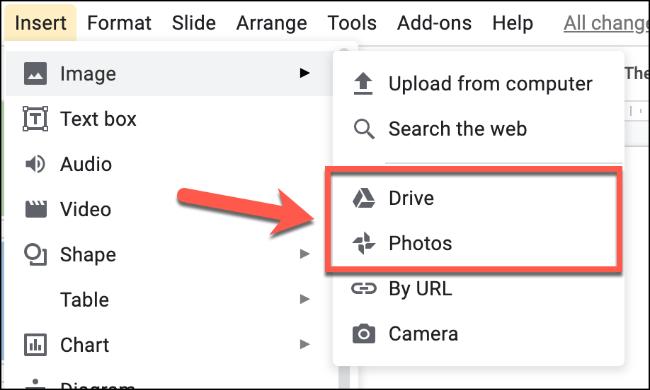 """Choisir """"Photos"""" pour télécharger une image à partir de vos photos Google ou """"Conduire"""" pour télécharger une image à partir de votre stockage Google Drive"""