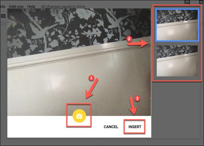 Cliquez sur Insérer pour insérer des images de caméra dans Google Slides