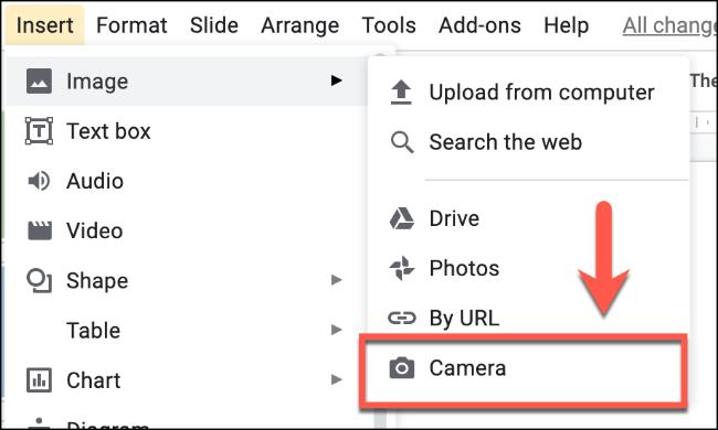 Cliquez sur Insérer> Image> Appareil photo pour insérer une image à l'aide de votre appareil photo dans Google Slides.» width=»650″ height=»390″ onload=»pagespeed.lazyLoadImages.loadIfVisibleAndMaybeBeacon(this);» onerror=»this.onerror=null;pagespeed.lazyLoadImages.loadIfVisibleAndMaybeBeacon(this);»/></p> <p>Si vous utilisez un navigateur comme Google Chrome, une autorisation peut vous être demandée pour autoriser l'accès à votre caméra.  Cliquez sur le bouton «Autoriser» pour autoriser cela dans Chrome.</p> <p><img loading=