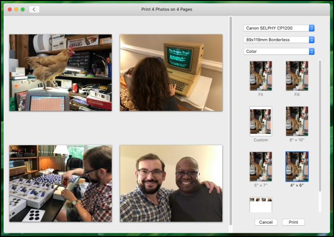 Boîte de dialogue d'impression de l'application Apple Photos dans macOS Catalina