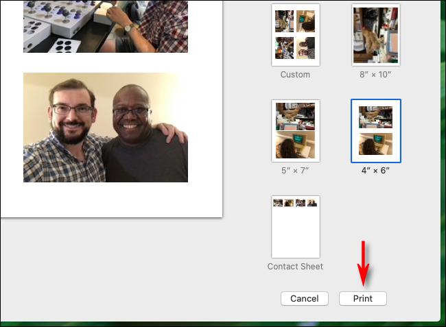 Cliquez sur Imprimer dans l'application Photos sur Mac