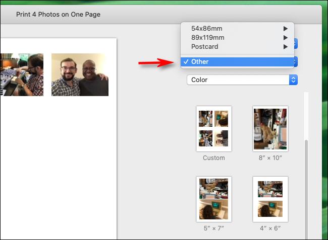 Sélectionnez Autre dans les formats de papier dans l'application Photos sur Mac