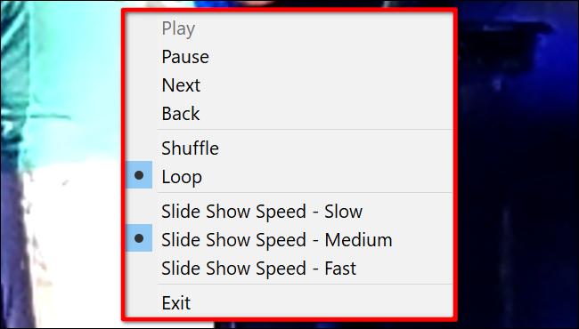 Contrôles du diaporama Windows 10