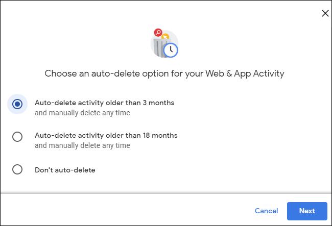 Activité de suppression automatique de plus de 3 mois dans un compte Google.