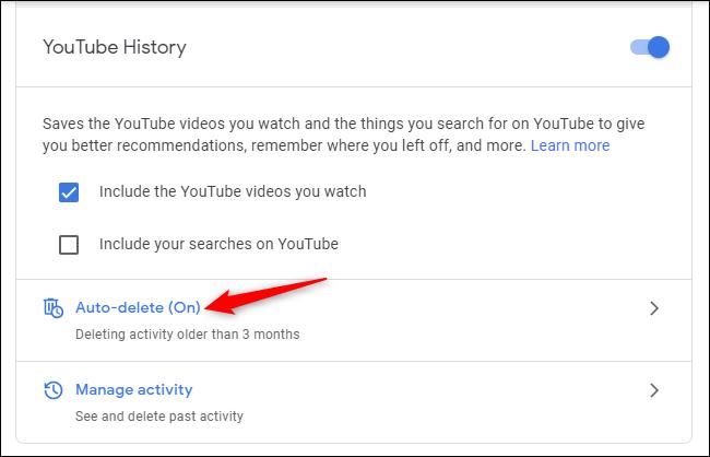 Commandes de suppression automatique de l'historique YouTube dans un compte Google.