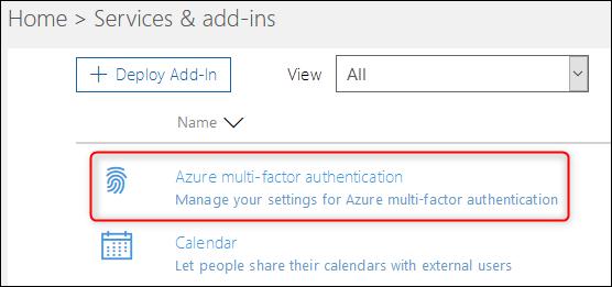 """le """"Authentification multifacteur Azure"""" option"""