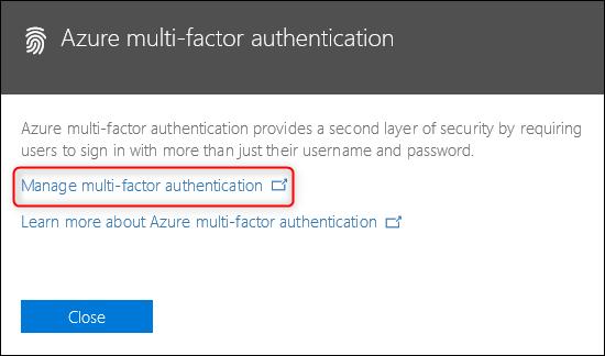 """le """"Authentification multifacteur Azure"""" lien"""