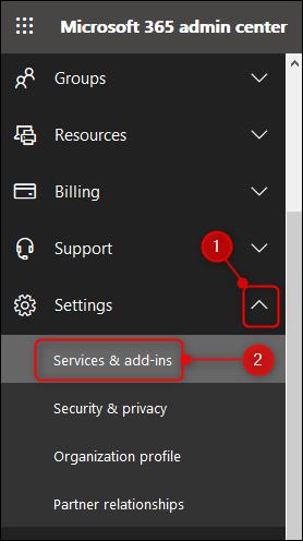 """le """"Services et compléments"""" option dans le menu Admin"""