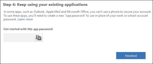 La zone de texte du mot de passe de l'application et le bouton Terminé
