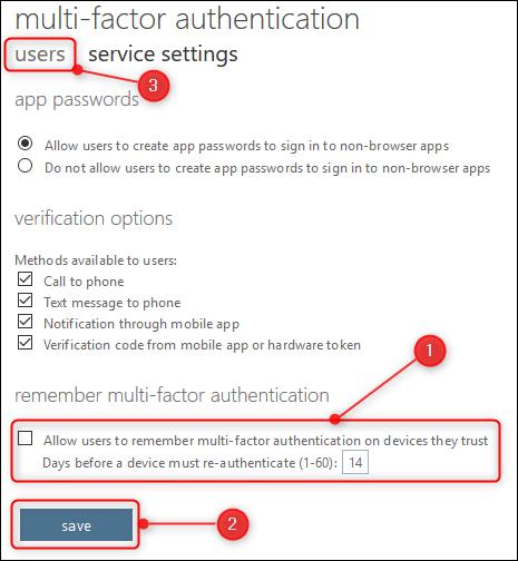 """le """"paramètres de service"""" les options et les """"utilisateurs"""" languette"""