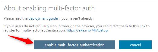 """le """"activer l'authentification multifacteur"""" bouton"""