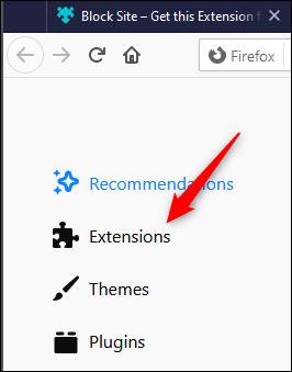 """Cliquez sur """"Extensions."""""""