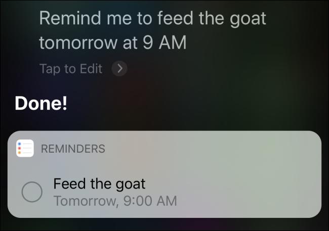 """Siri confirmant un rappel à """"nourrir la chèvre demain à 9 heures."""""""