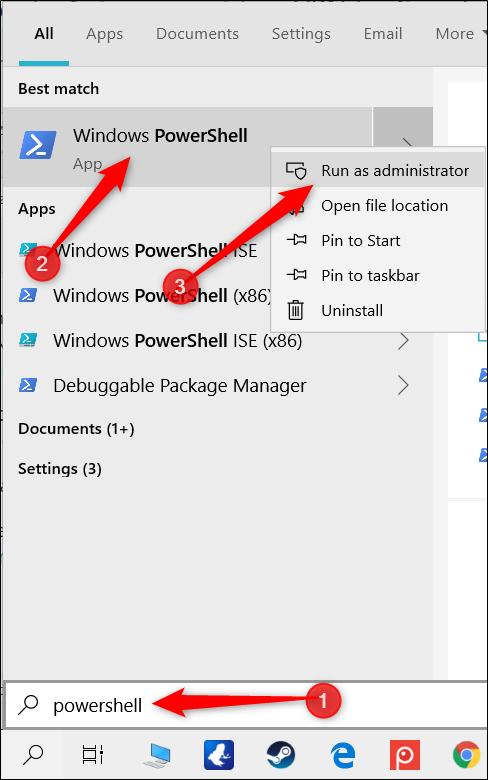"""Type """"PowerShell"""" dans la barre de recherche, faites un clic droit """"Windows PowerShell,"""" puis cliquez sur """"Exécuter en tant qu'administrateur."""""""