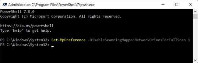 Désactivation des analyses de lecteur réseau mappé pour Defender dans PowerShell