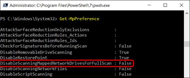 """le """"DisableScanningMappedNetworkDrivesForFullScan"""" est défini sur False."""