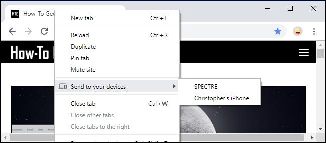 Envoyer l'onglet à vos appareils sur Chrome
