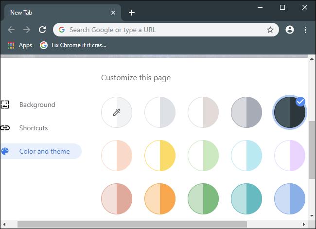 Choisir une couleur et un thème pour le navigateur Chrome.