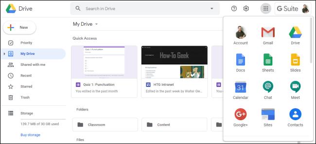 Interface Google Drive