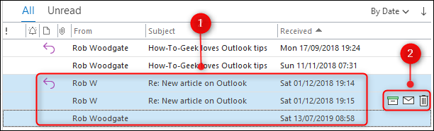Plusieurs e-mails sélectionnés avec les boutons d'action rapide en surbrillance.