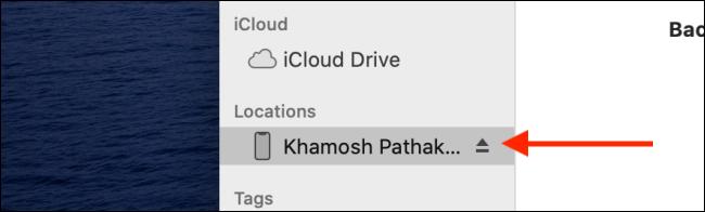 Cliquez sur le bouton Éjecter à côté du nom de l'appareil iOS