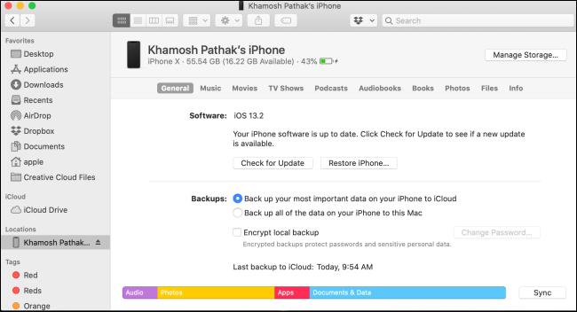 Recherche d'écran de gestion iPhone