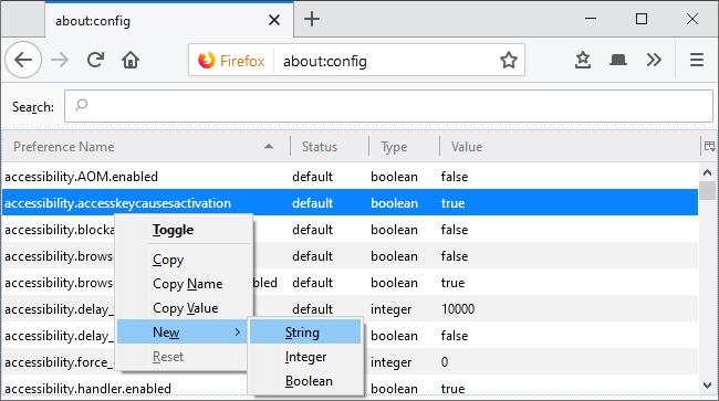 Ajout d'une nouvelle préférence de chaîne dans about: config de Firefox