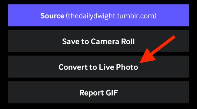 Appuyez sur Convertir en photo en direct
