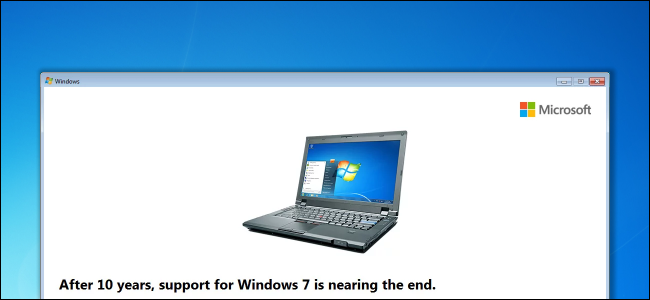 Message de nag de date de fin de prise en charge de Windows 7 sur le bureau