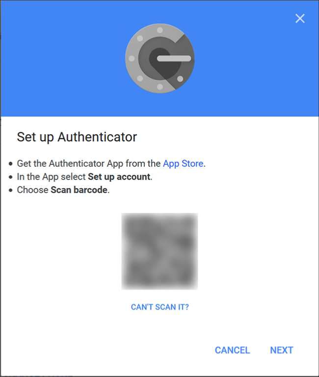 L'écran Google Authenticator où vous scannez le code QR à l'aide de l'application sur votre téléphone.