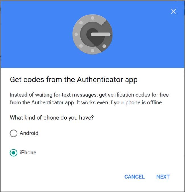 """L'écran Google Authenticator où vous choisissez """"Android"""" ou 'iPhone."""""""