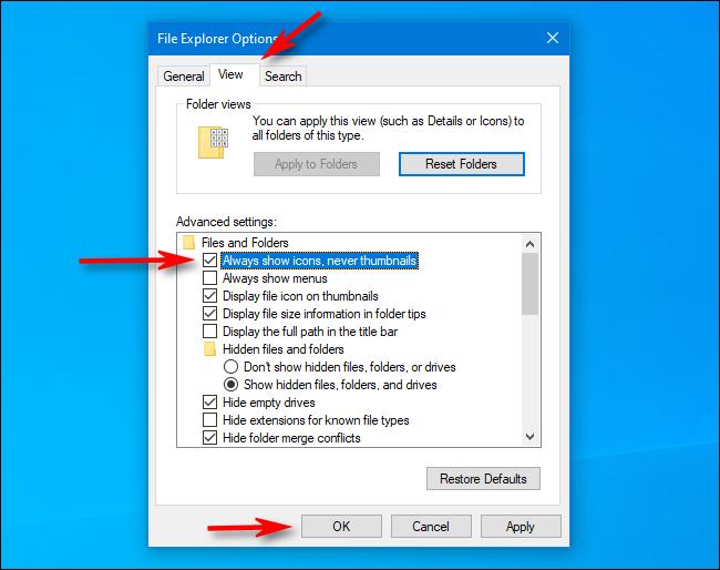 Cochez Toujours afficher les icônes au lieu des vignettes dans les options de l'explorateur de fichiers sous Windows 10