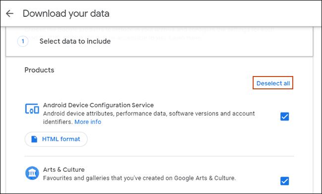 Cliquez sur Tout désélectionner dans l'outil Google Télécharger vos données