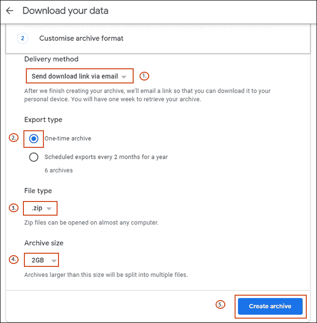 Confirmez vos options d'archivage de données