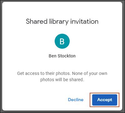 Cliquez sur Accepter pour l'invitation à la bibliothèque partagée